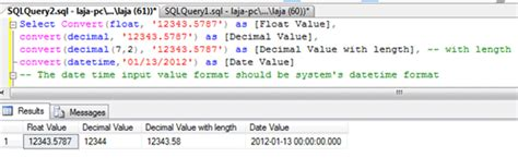 Conversion Functions Using SQL Query in SQL Server