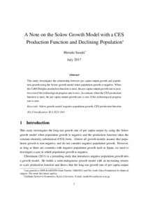 A Note on the Solow Growth Model with a CES Production